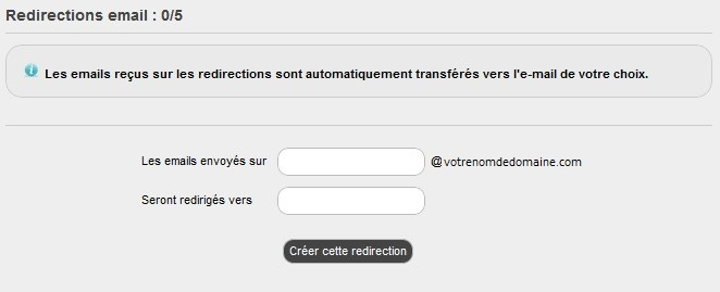 créer une redirection email