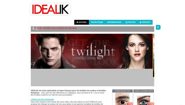 www.idealik.fr : le spécialiste lentilles de couleur et fantaisies
