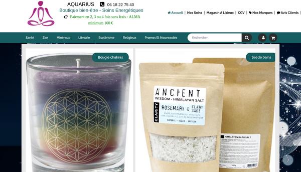Boutique en ligne Aquarius  - Boutique Bien-être