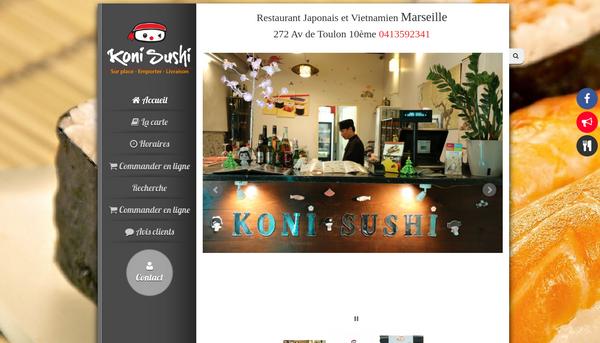 Site internet du restaurant Koni-sushi à Marseille