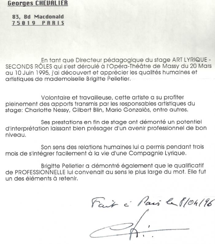 recommandation du Directeur de l'Opéra de Massy Palaiseau