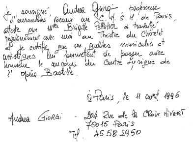 recommandation Châtelet 1996
