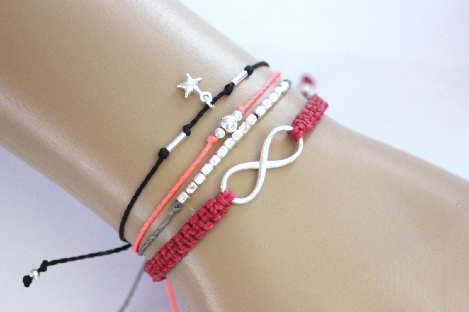 Manchette bracelets cordons perles miyuki et argent 925