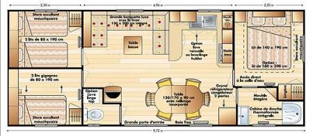 plans du mobile home. Black Bedroom Furniture Sets. Home Design Ideas