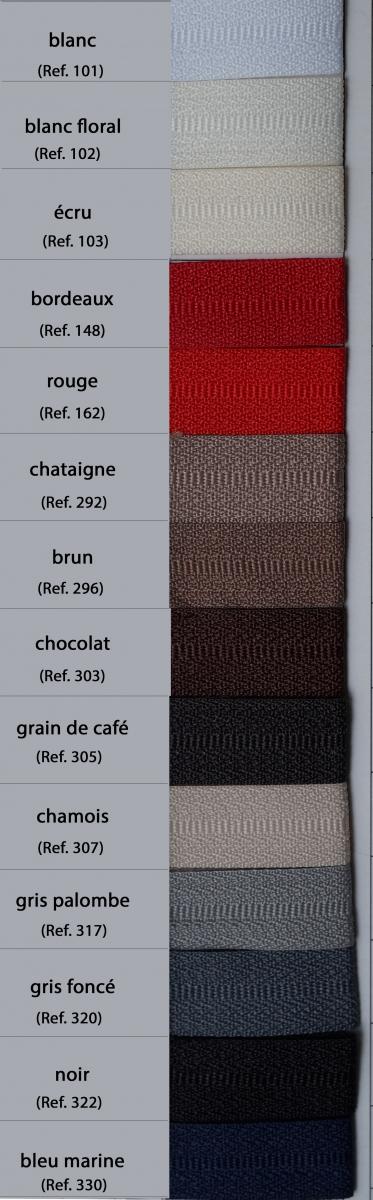 Carte couleur fermeture (ruban) (rubrique Fermetures et Scratchs)