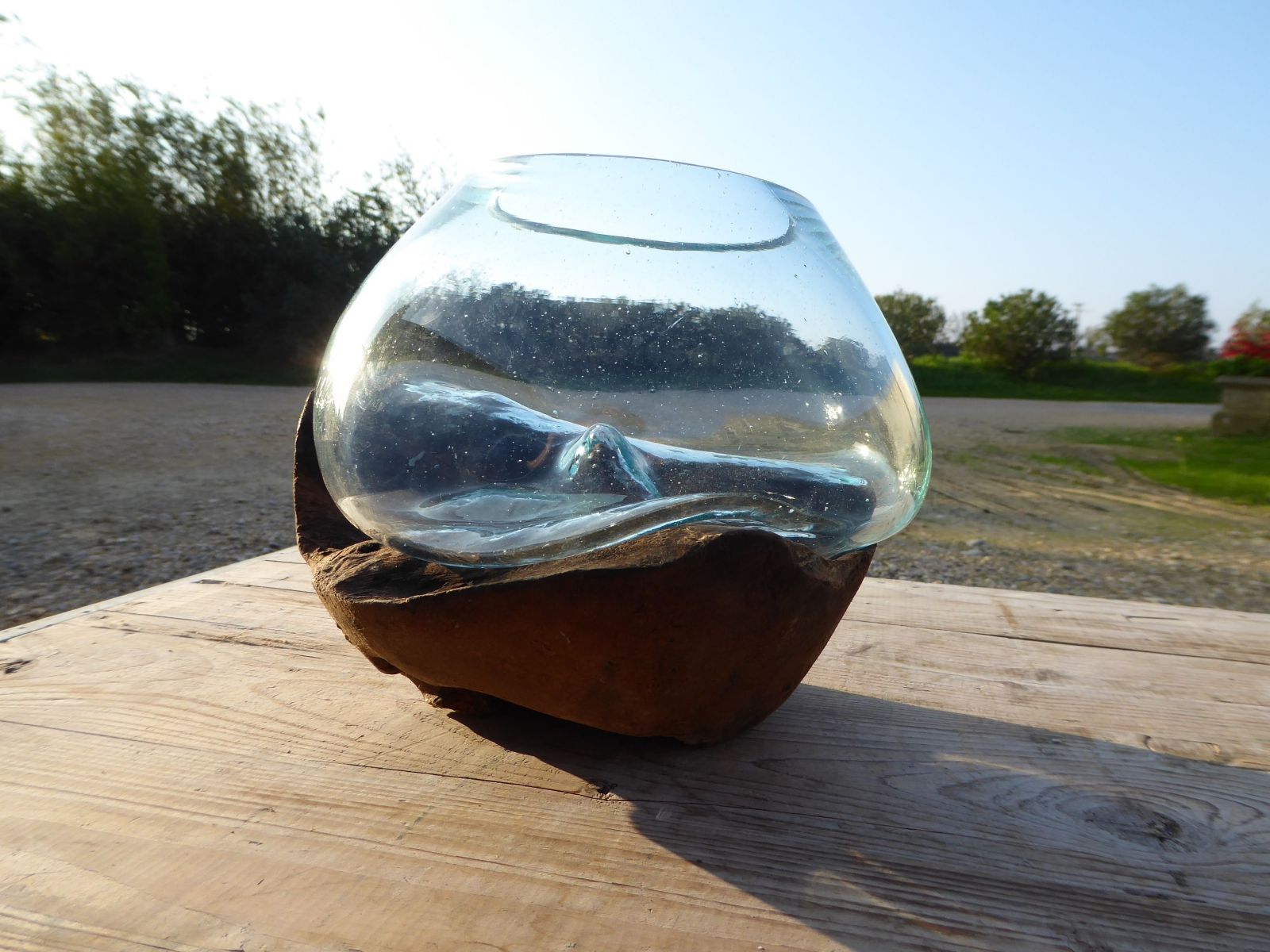 vase verre soufflé racine de teck bali